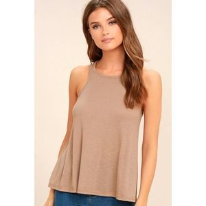 Free People High Neck Brown Ribbed Tank Top